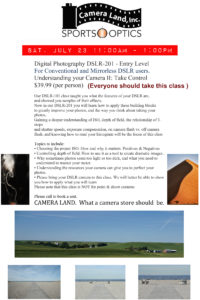 Digital Photography DSLR-201 - July 23rd