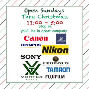 Camera Land Open Sundays, Now Until Chirstmas